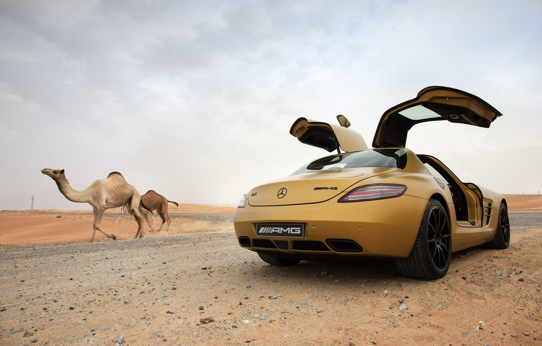 Photo wallpaper desert, mercedes, benz, sls, amg, camels