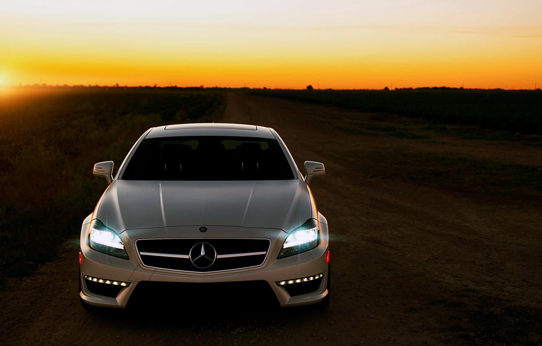 Photo wallpaper road, sunset, Mercedes, CLS63