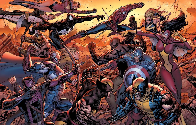 Photo wallpaper captain America, spider-man, Wolverine, new Avengers, Luke cage, female spider