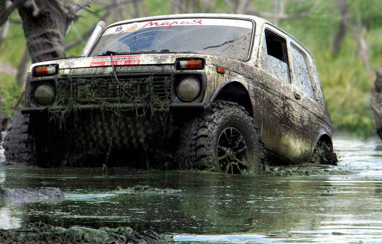 Photo wallpaper swamp, jeep, SUV, off-road, vaz, trophy, Niva, VAZ - 21213
