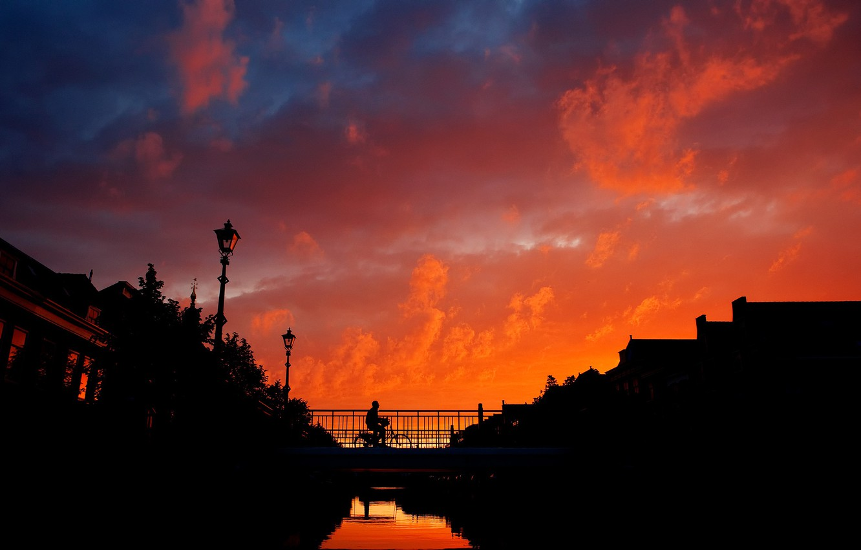 Photo wallpaper bridge, Sunset, cyclist