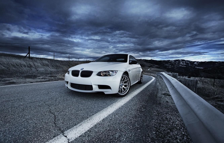 Photo wallpaper road, white, bmw, BMW, white, road, sky, e92, bump