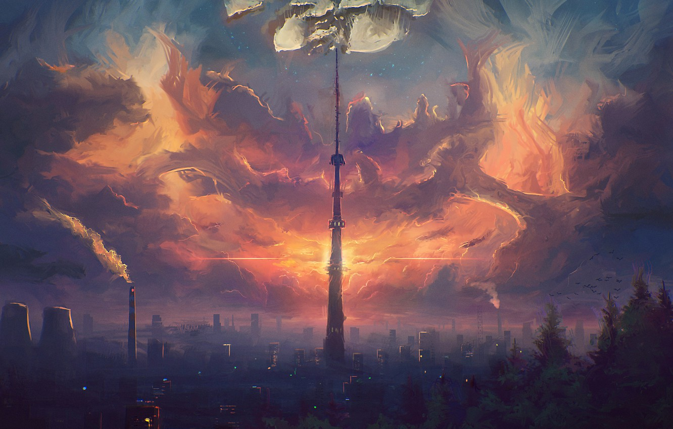 Photo wallpaper the sky, clouds, the city, tower, home, art