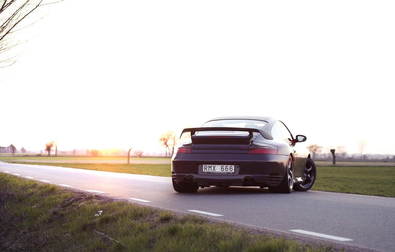 Photo wallpaper black, 911, Porsche, back, Porsche, black, GT2, 996
