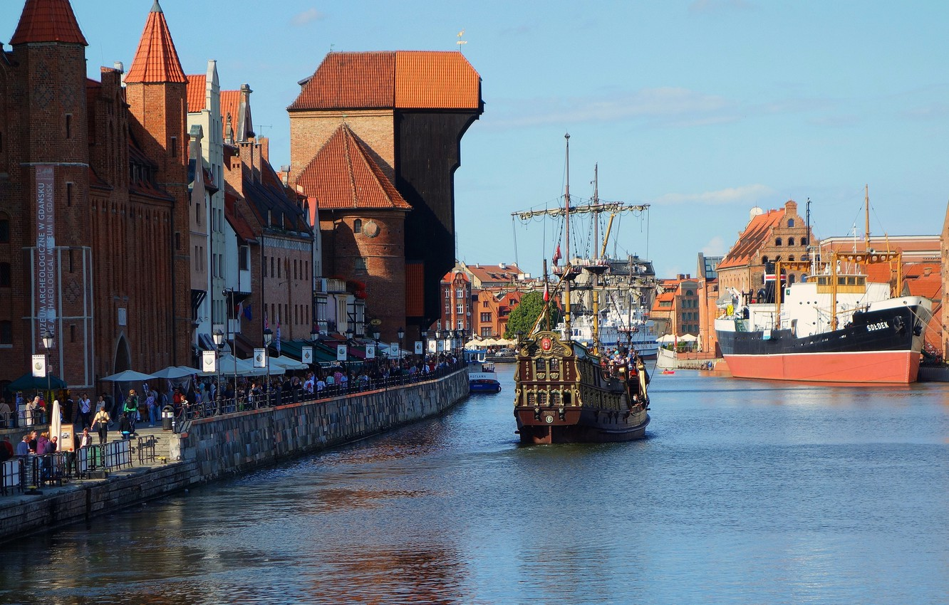 Photo wallpaper the sky, people, ship, home, Poland, promenade, Gdansk