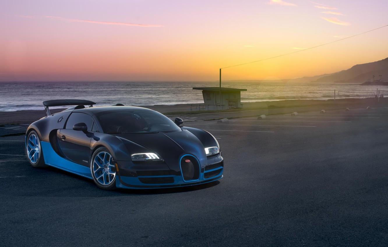 Photo wallpaper Sunset, Sea, Bugatti, Bugatti, Veyron, Veyron, Supercar, Supercar, Grand Sport, Vitesse