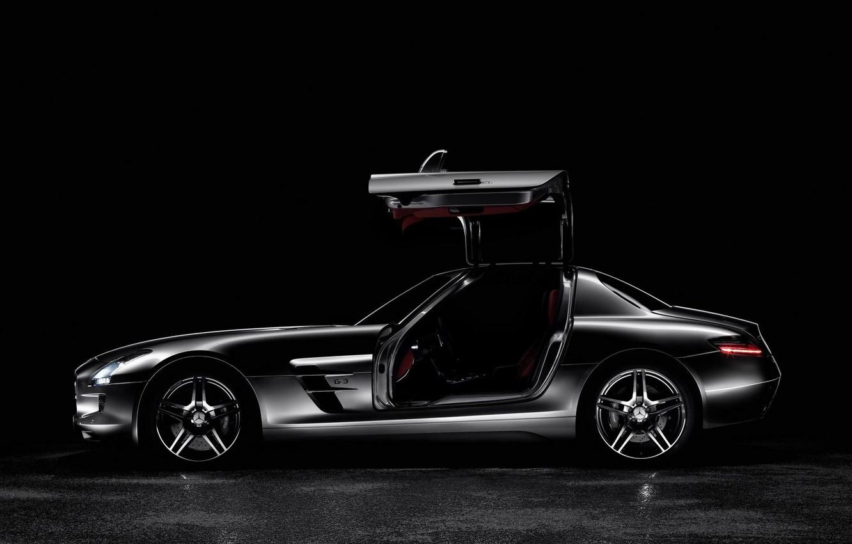 Photo wallpaper black, Mercedes, side view, AMG SLS63