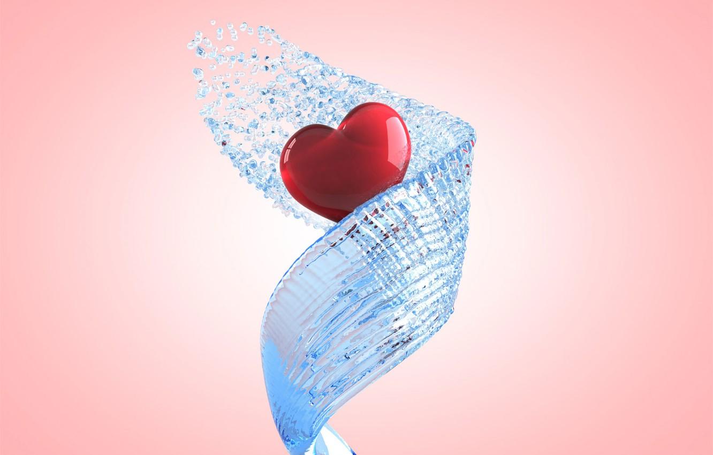 Photo wallpaper water, squirt, transparent, pink, heart, spiral, jet