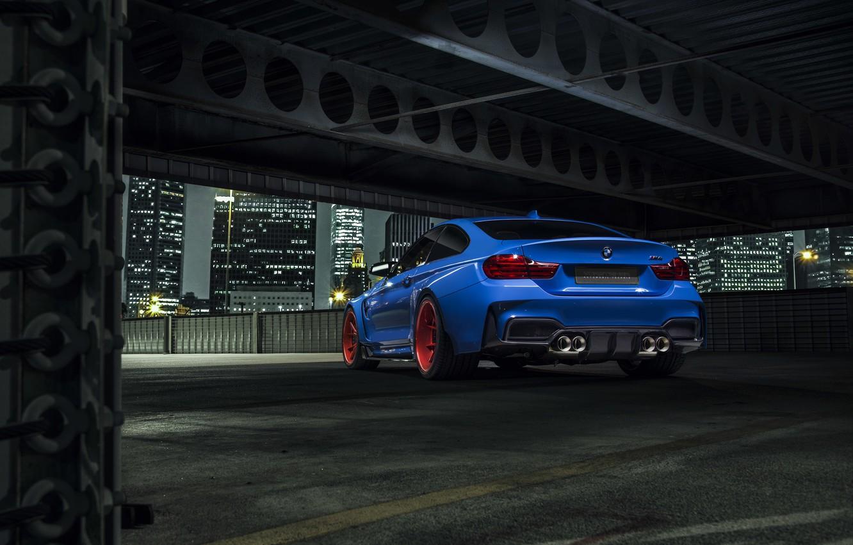 Photo wallpaper BMW, City, Blue, Vorsteiner, Wheels, Widebody, Rear, Photoshoot, Nigth, GTRS4
