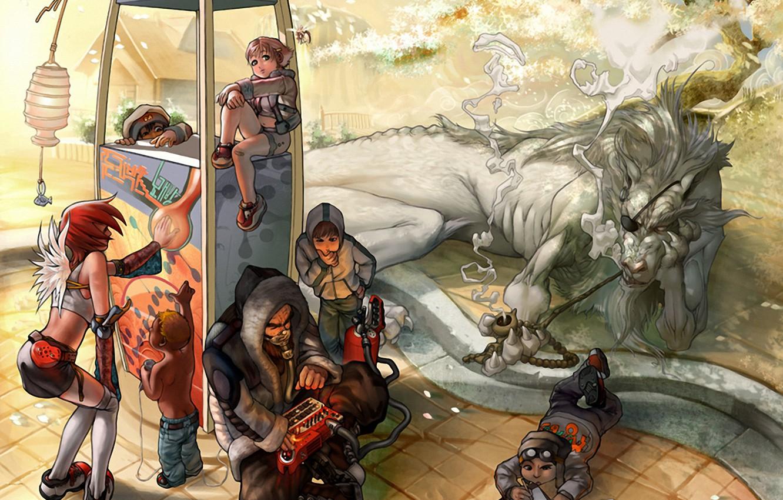 Photo wallpaper people, dragon, anime