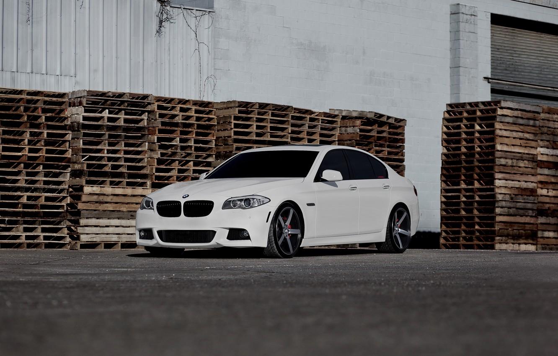 Photo wallpaper BMW, white, F10, WHEELS, 5 Series, Vossen