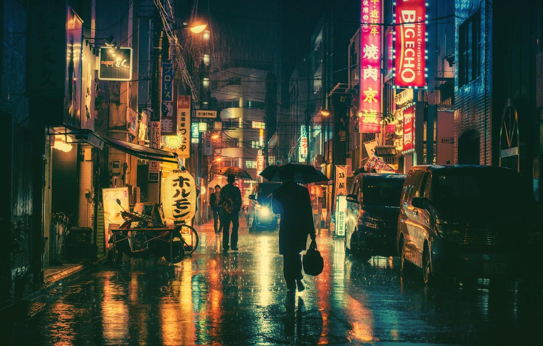 Photo wallpaper people, rain, street, neon, umbrellas, cars, stores, city center, restaurants, city, lampposts
