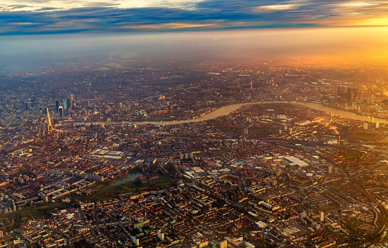 Photo wallpaper City, Flight, Sky, Sunrise, London, Airplane, Flying, England, Plane, Fly