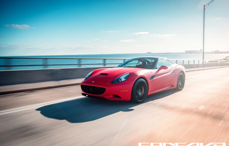 Photo wallpaper road, machine, auto, Ferrari, auto, California, Wheels, Concave, Matte Red