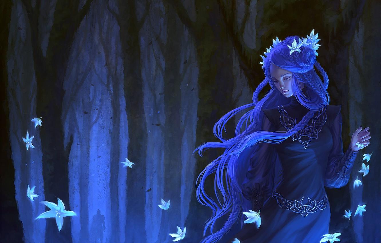 Photo wallpaper forest, girl, trees, flowers, dress, art, braids, fantasy, blue hair
