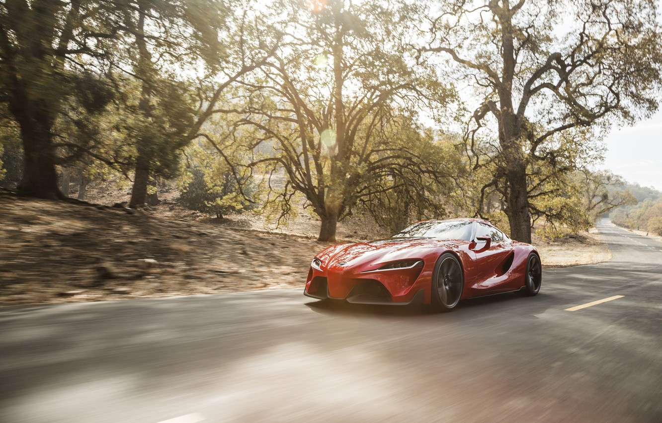 Photo wallpaper road, auto, Concept, speed, Toyota, the front, FT-1