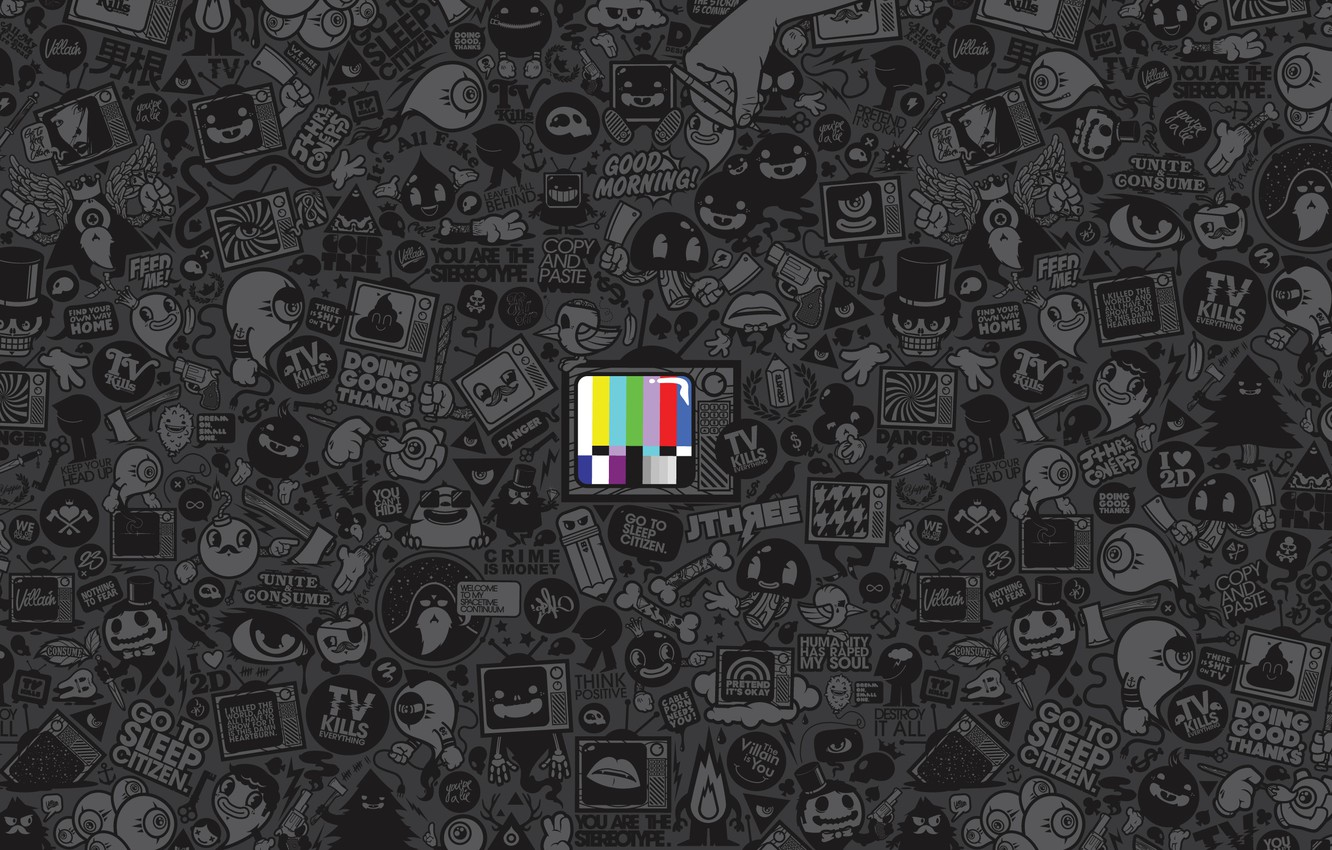 Photo wallpaper color, TV, icons, setting