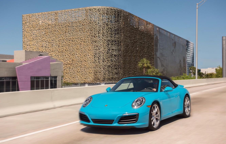 Photo wallpaper road, movement, 911, Porsche, convertible, car, Porsche, Cabriolet, Carrera S