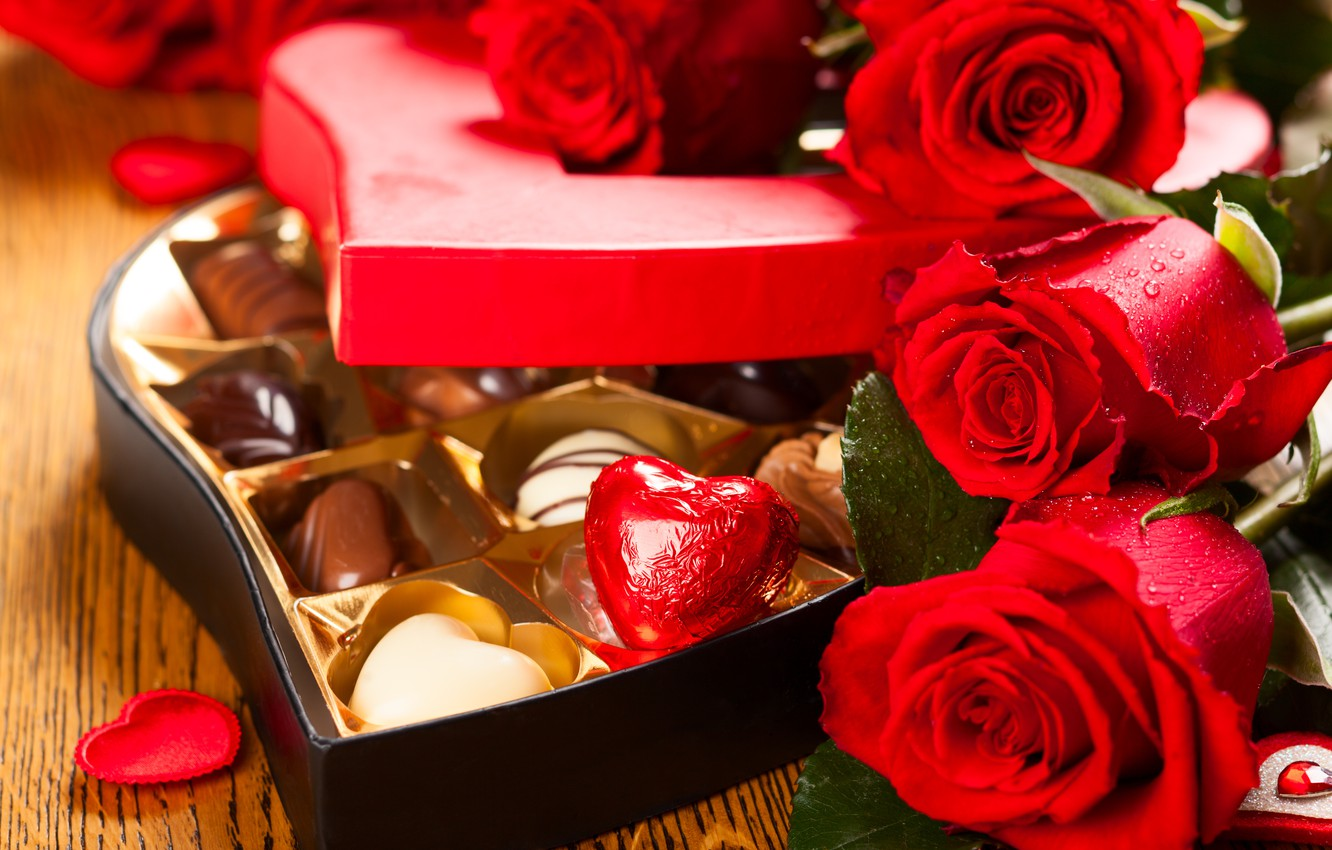 Photo wallpaper chocolate, roses, candy, love, rose, heart, romantic, Valentine's Day
