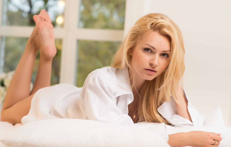 Photo wallpaper girl, morning, blonde, bed, shirt, Katerina Blank