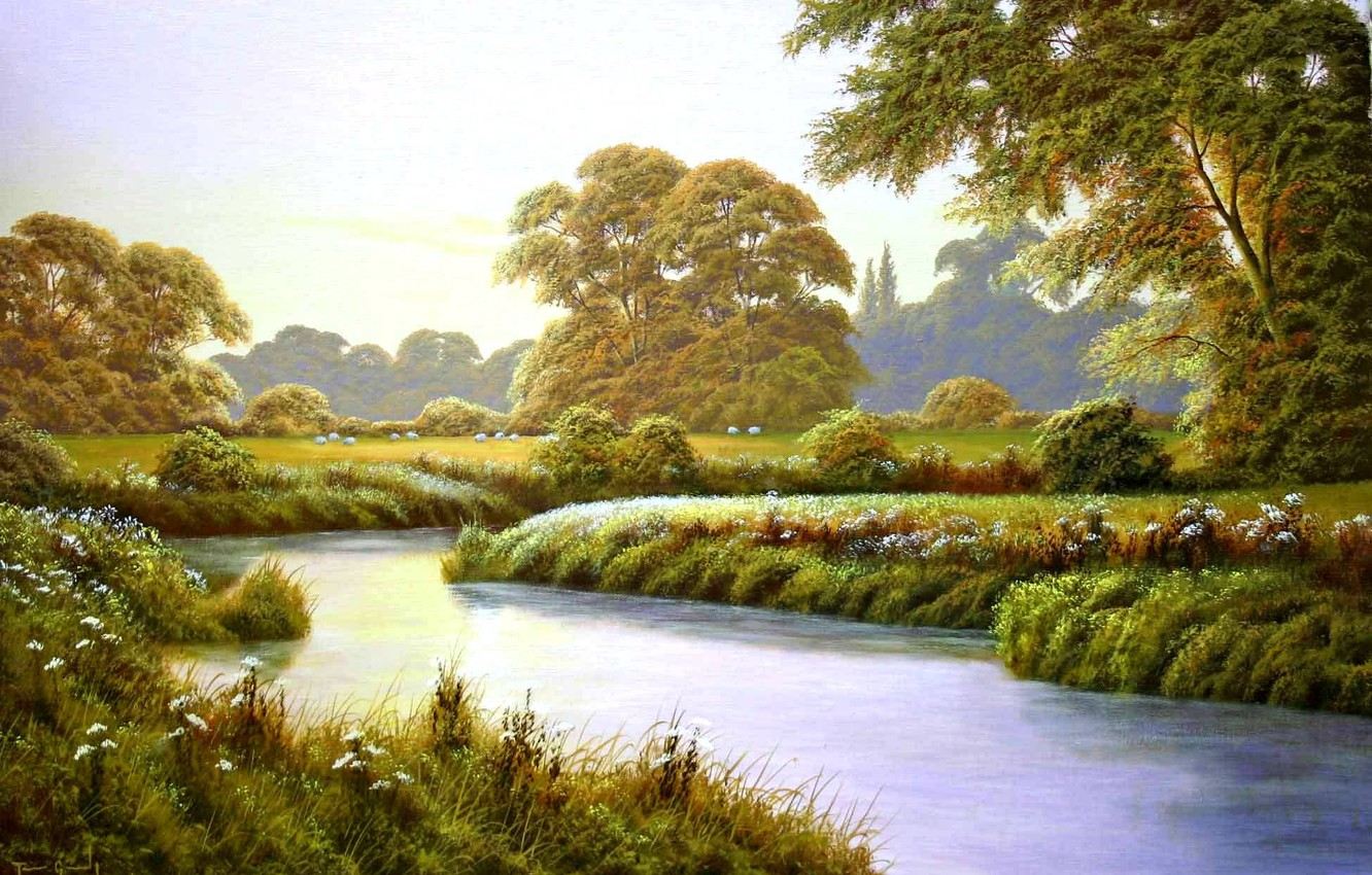 Photo wallpaper trees, landscape, flowers, river, glade, painting, Terry Grundy, Autumn Coming, the approach of autumn