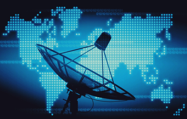 Photo wallpaper world, hi tech, satellite, technology, codes, dish