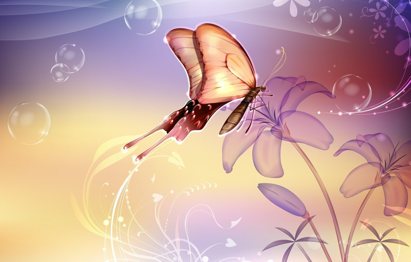 Photo wallpaper flower, bubbles, butterfly, Abstraction