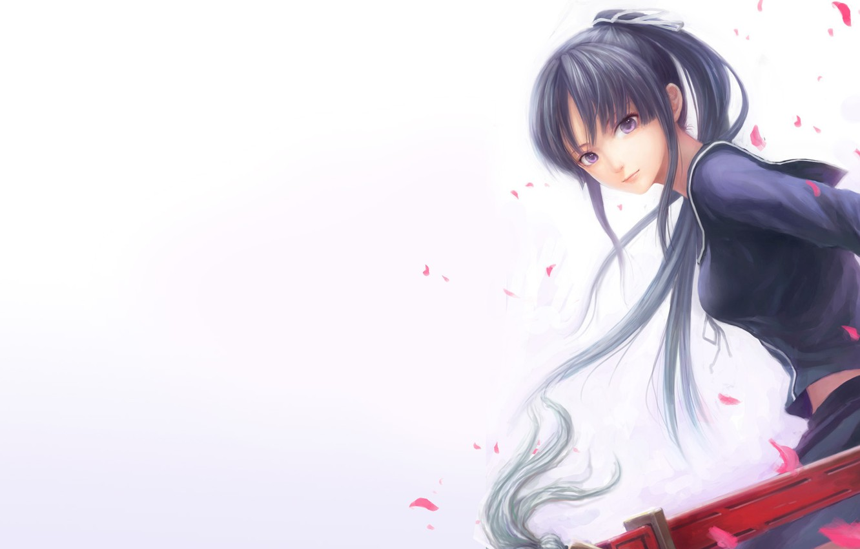 Photo wallpaper girl, sword, katana, petals, form, Isaiah yomi my, ga-rei zero