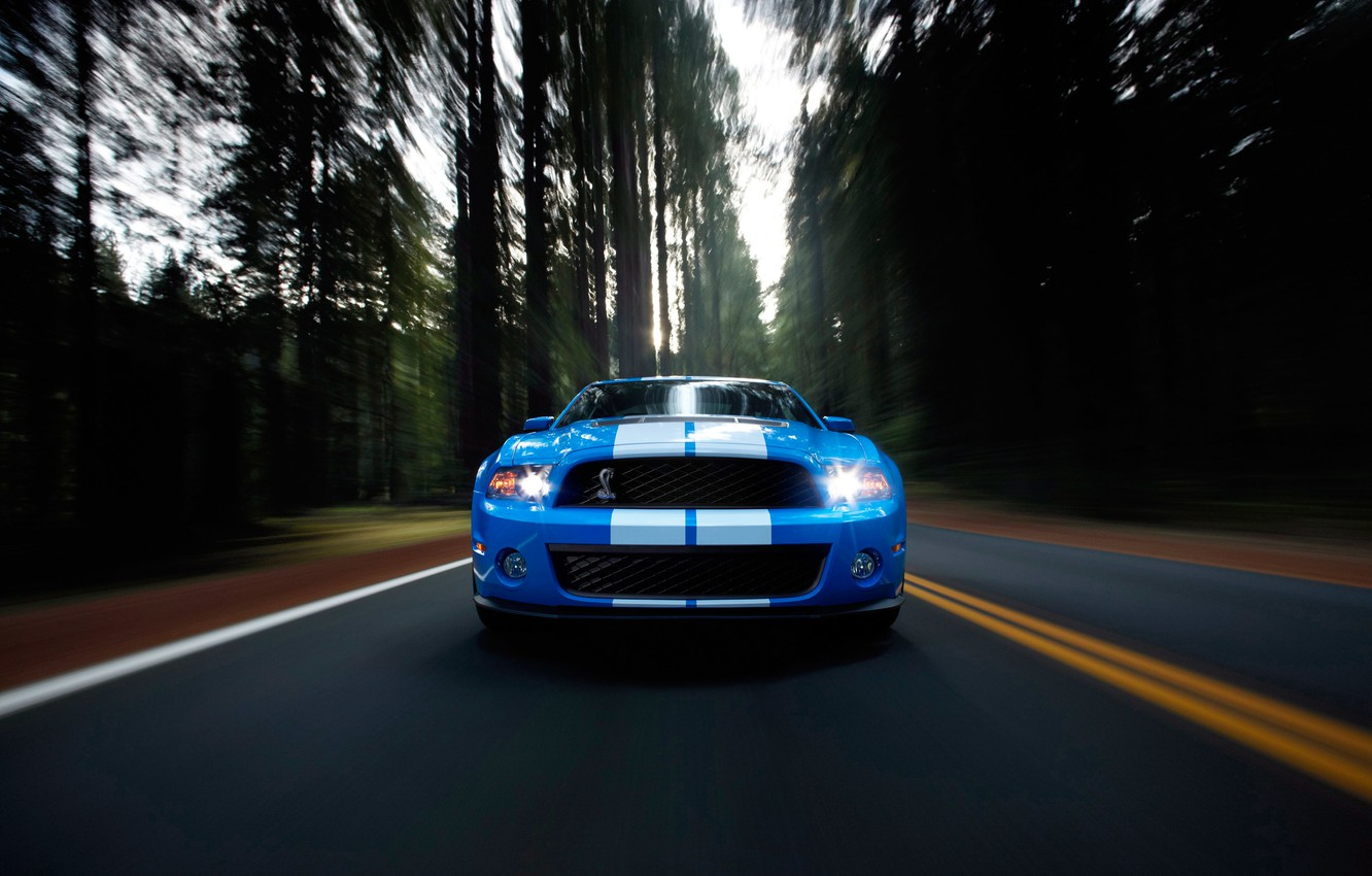 Photo wallpaper road, auto, forest, movement, Wallpaper, speed, track, Mustang, Ford, Shelby, GT500