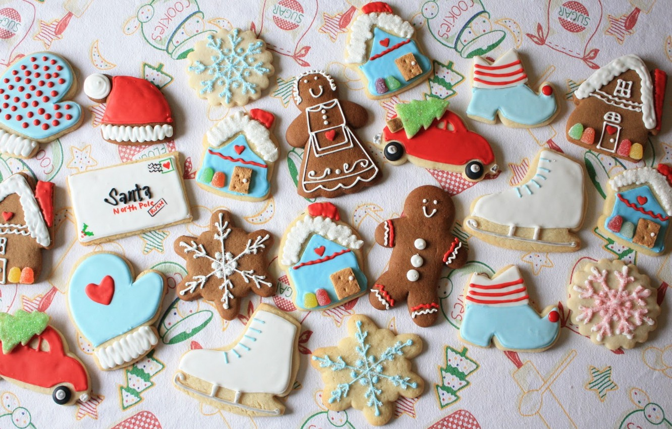 Photo wallpaper machine, letter, holiday, hat, new year, cookies, man, house, figures, snowflake, skates, cookies, glaze, marzipan