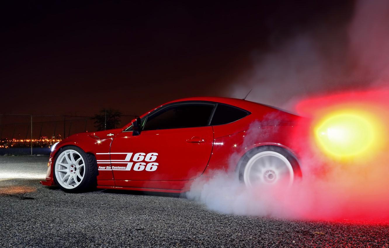 Photo wallpaper car, tuning, smoke, tuning, burnout, toyota gt86