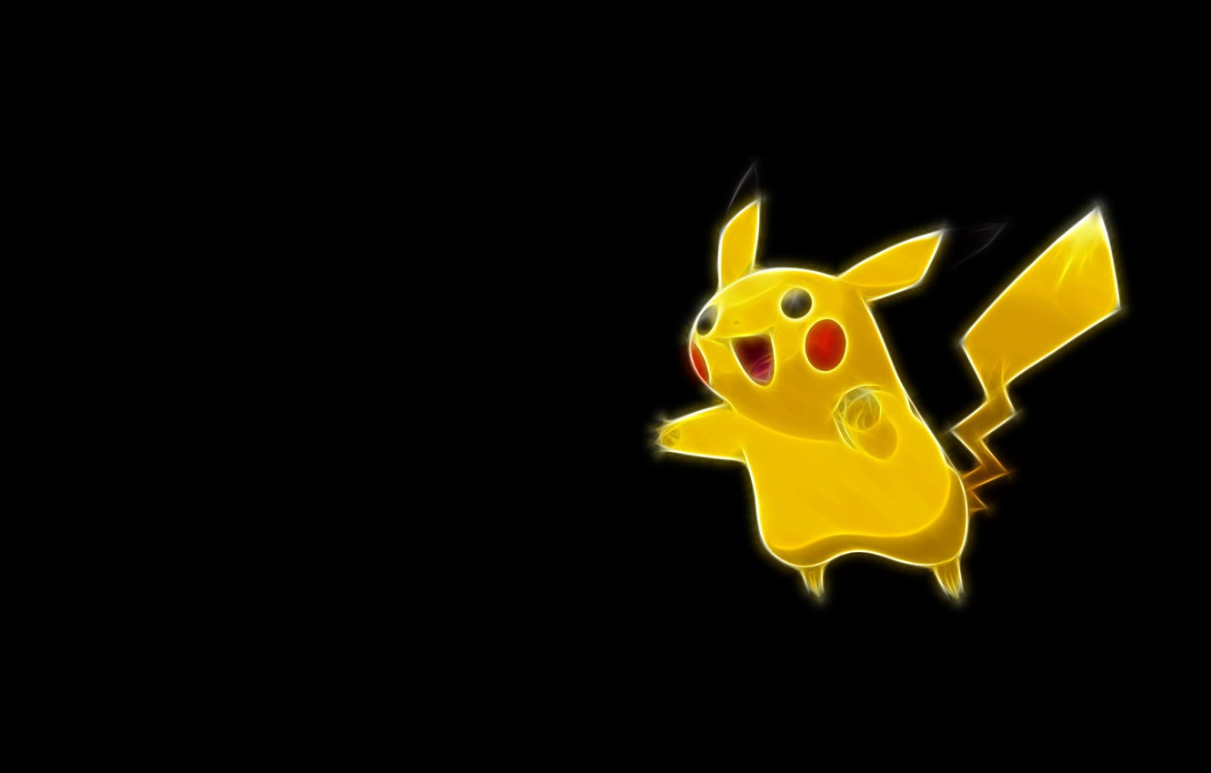 Wallpaper Yellow Tail Pikachu Ears Tail Pokemon Pikachu Neon Lines Images For Desktop Section Minimalizm Download