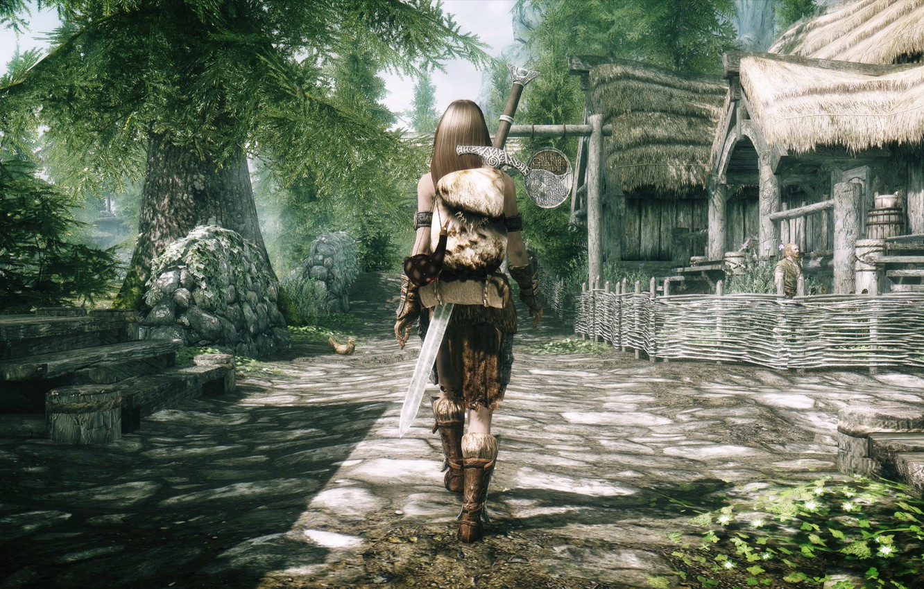 Wallpaper girl, the fence, back, sword, village, stage, Skyrim, is