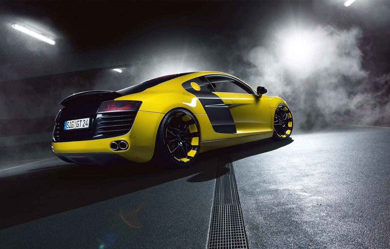 Photo wallpaper Audi, Yellow, Smoke, Supercar, Rear, MTM