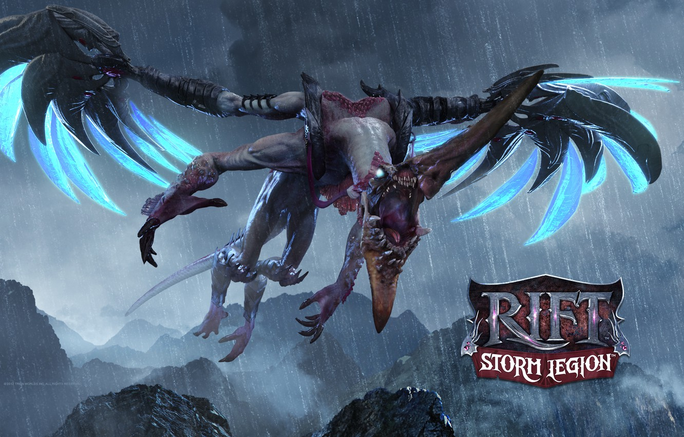 Photo wallpaper dragon, the game, wings, mouth, RIFT, storm legion