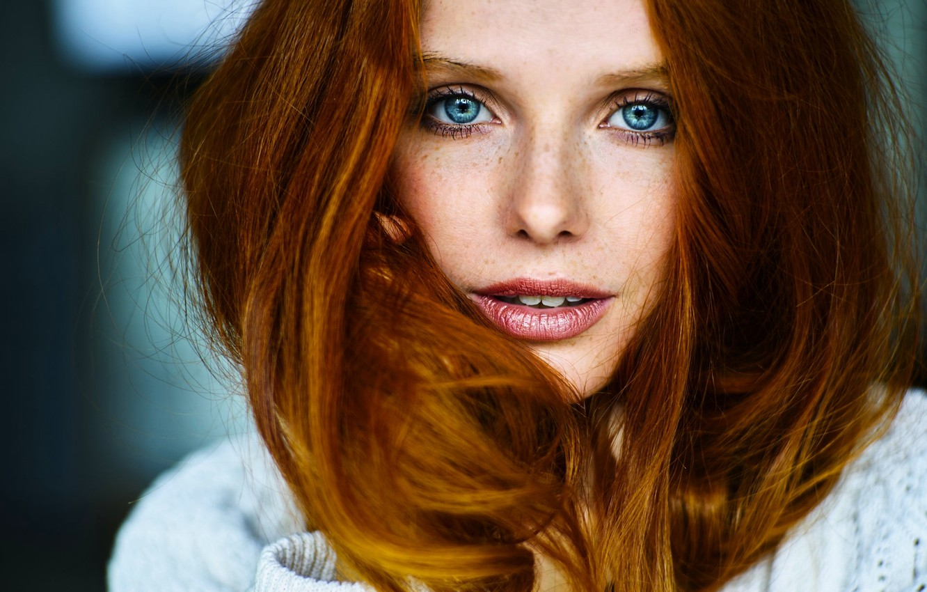 Photo wallpaper look, face, hair, portrait, red, blue eyes, redhead, blue-eyed