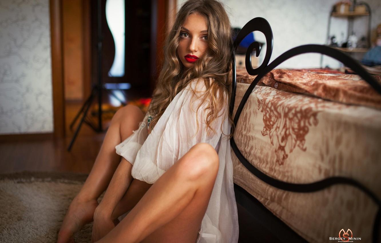Photo wallpaper look, girl, sexy, pose, tenderness, lips, shirt, legs, photographer, sitting, cute, face, Sergey Minin, the …
