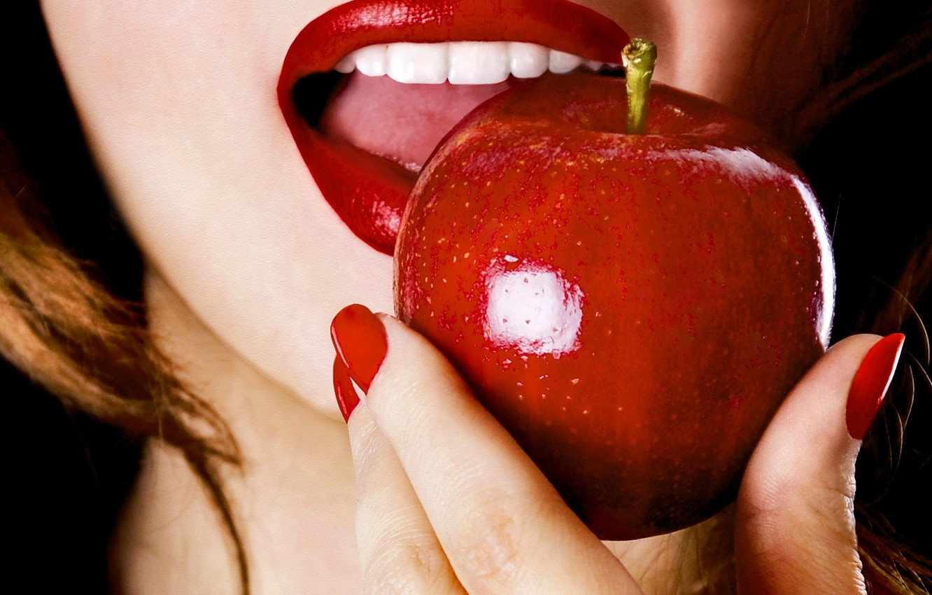 Photo wallpaper girl, face, food, hand, fingers, manicure, red lips, red Apple
