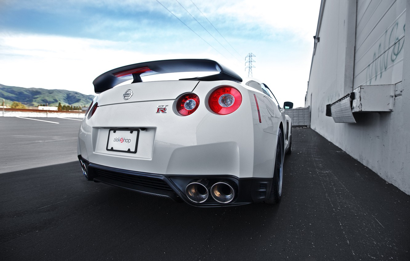 Photo wallpaper white, the sky, clouds, nissan, white, sky, gtr, back, gtr, r35, high-voltage support, clouds.Nissan