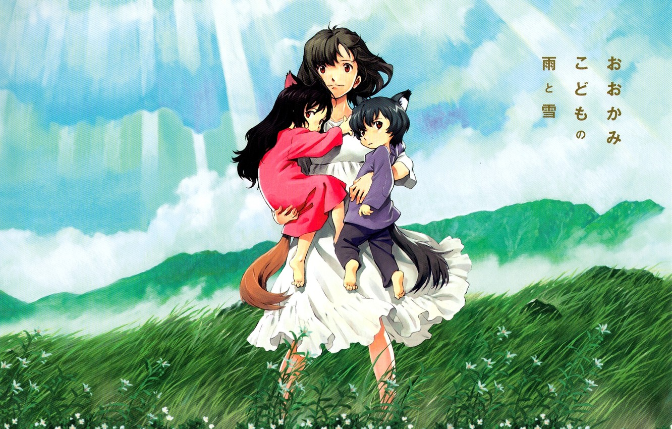 Photo wallpaper the sky, girl, clouds, rays, nature, children, the wind, anime, boy, art, girl, tail, flowers, …