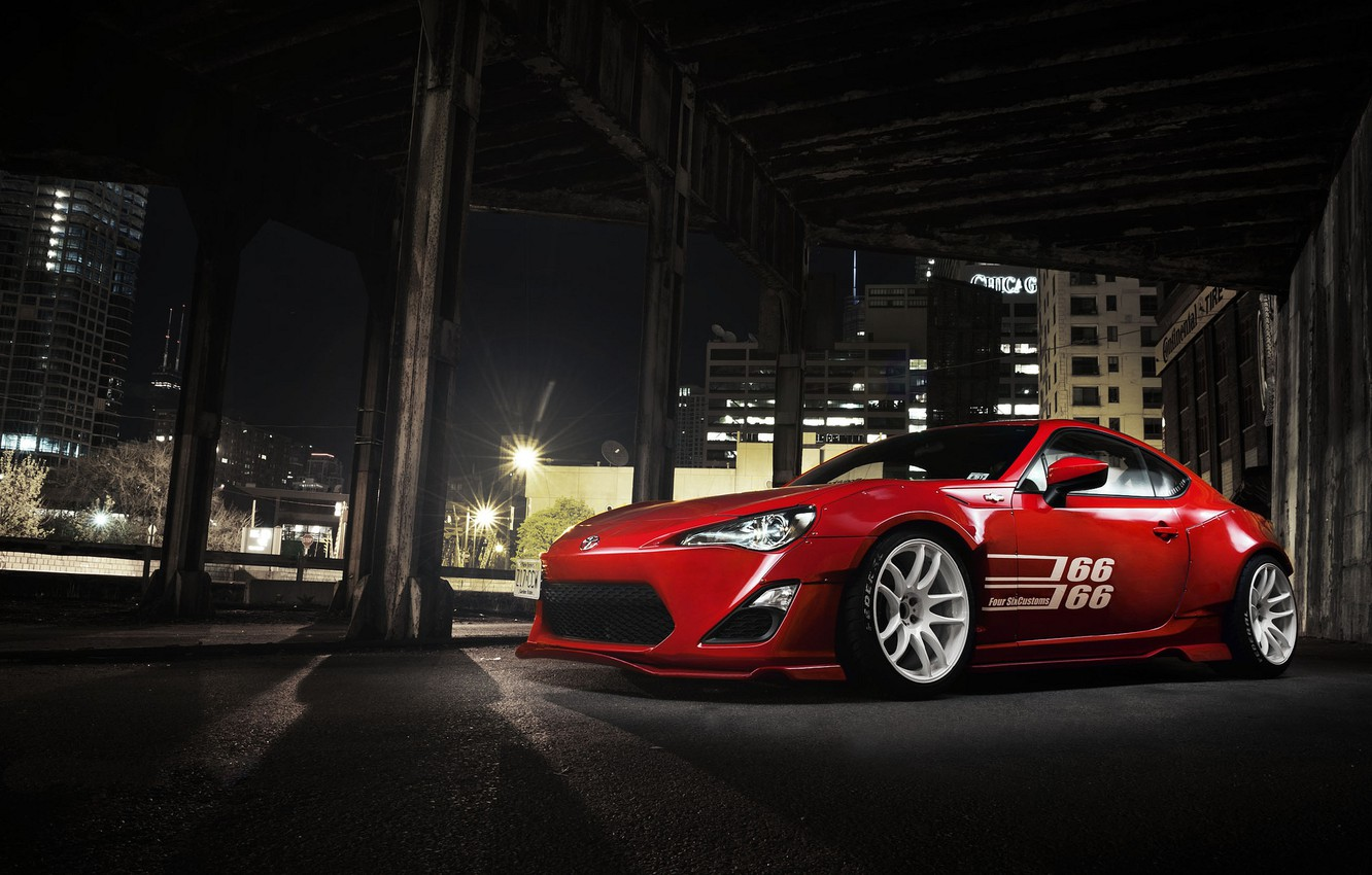 Photo wallpaper the city, red, Toyota, front, GT 86