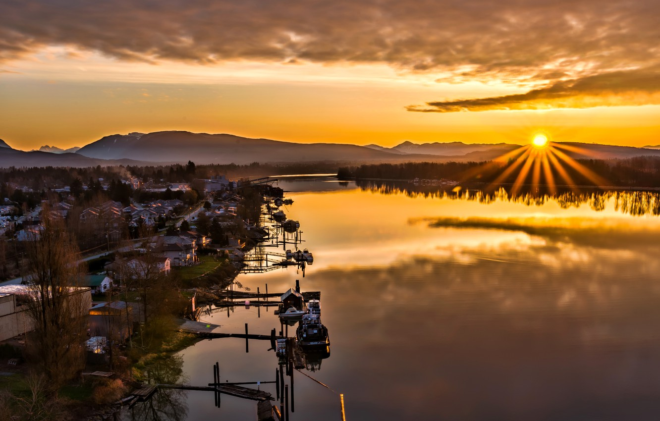 Photo wallpaper the sky, the sun, sunset, mountains, lake, boat, home, Canada, British Columbia, Canada, Maple Ridge