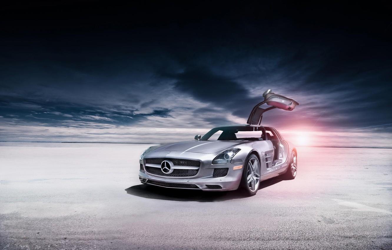 Photo wallpaper desert, Mercedes-Benz, silver, AMG, SLS, Mercedes Benz, silvery