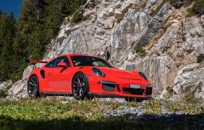 Photo wallpaper 911, Porsche, rock, Red, GT3, 2015