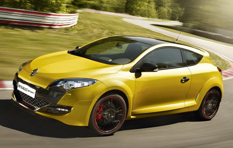 Photo wallpaper Sport, Machine, Movement, Renault, Megan, Car, Yellow, Car, Reno, Yellow, Sport, Racing track, Megane, RS …