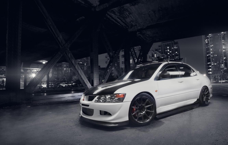 Photo wallpaper white, bridge, the city, Mitsubishi, Lancer, white, Evolution, Lancer, Mitsubishi, metal supports, evolution