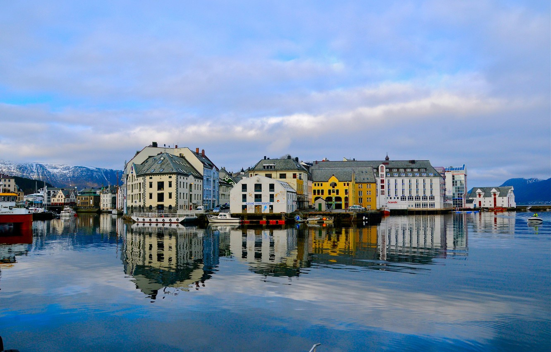 Photo wallpaper sea, the sky, home, Norway, Alesund
