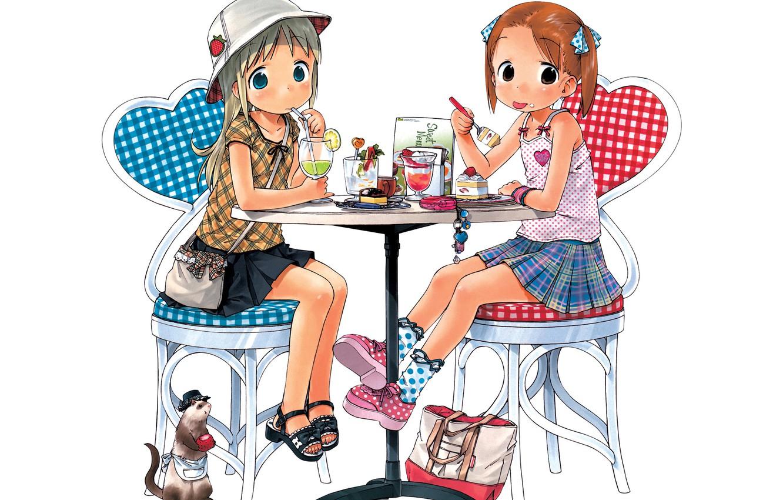 Photo wallpaper girls, anime, art, cafe, cake, Strawberry marshmallow, Ichigo Mashimaro