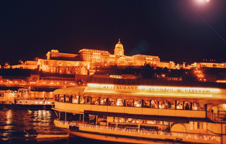 Photo wallpaper water, light, night, bridge, the city, lights, river, the building, ship, lighting, Hungary, Hungary, Budapest, …