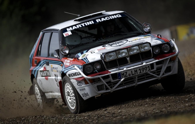 Photo wallpaper rally, Lancia, Delta, Integrale, Martini racing